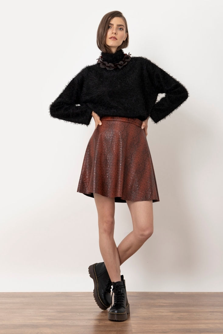 Picture of ANIMAL PRINT LEATHER EFFECT MINI SKIRT (2)