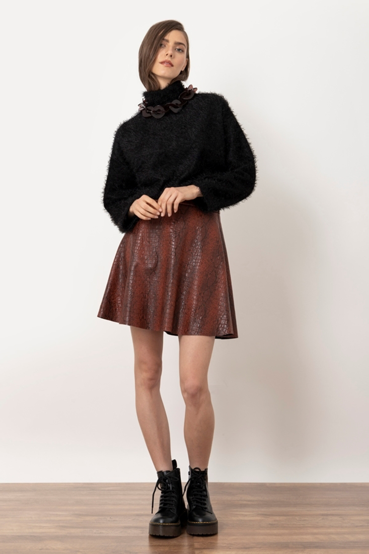 Picture of ANIMAL PRINT LEATHER EFFECT MINI SKIRT