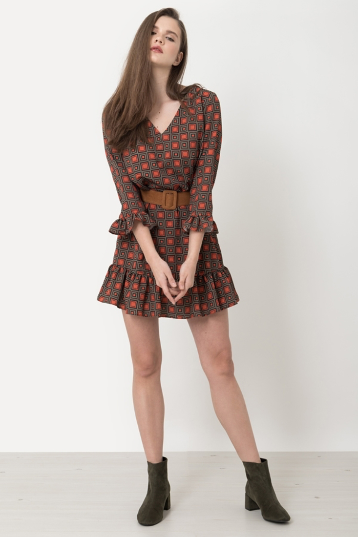 Picture of PRINTED DRESS WITH FRILLS