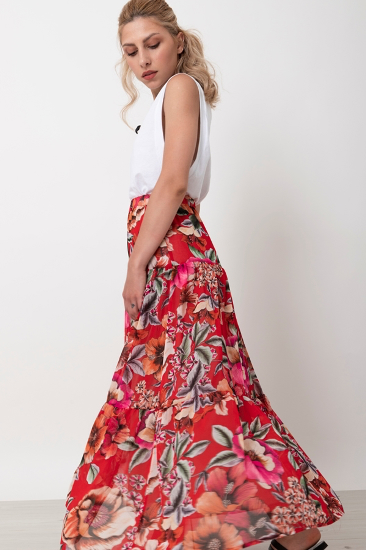 Picture of PRINTED LONG SKIRT WITH FRILLS (2)