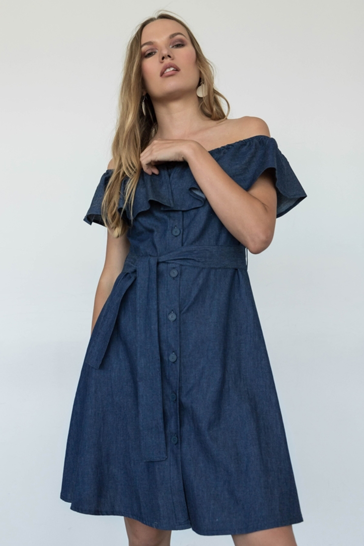 Picture of DENIM DRESS WITH RUFFLES