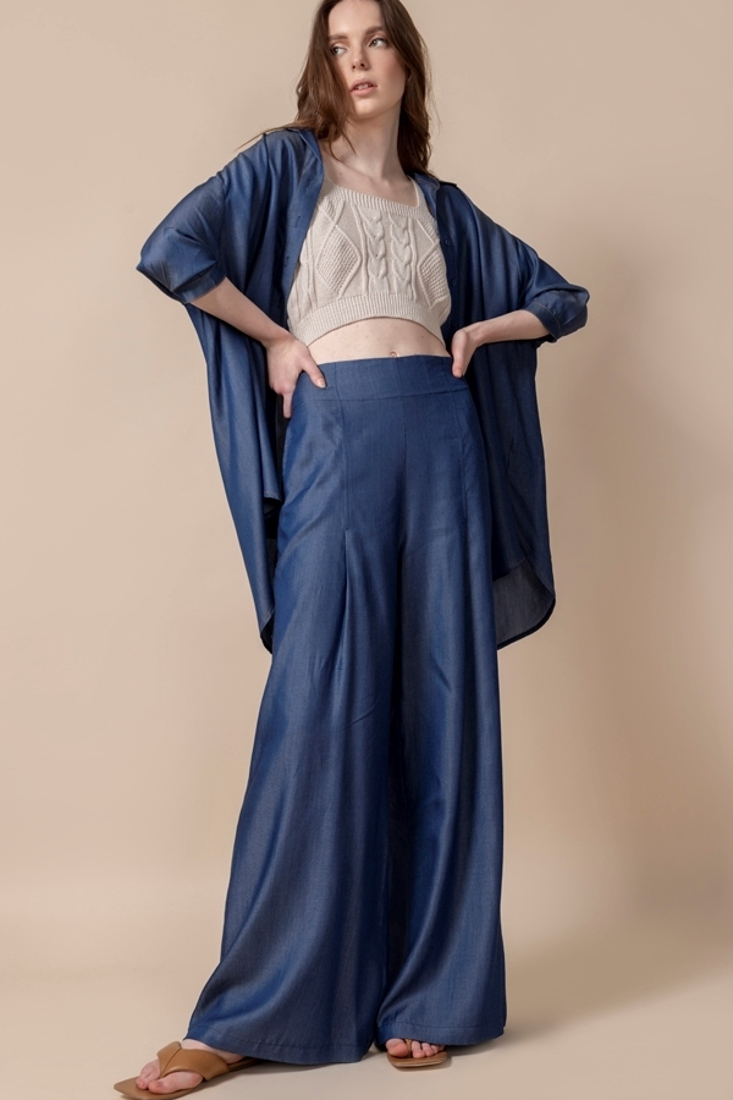 Picture of DENIM WIDE LEG TROUSERS (2)