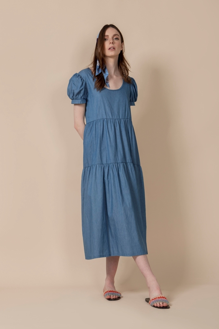 Picture of DENIM LONG FRILLED DRESS