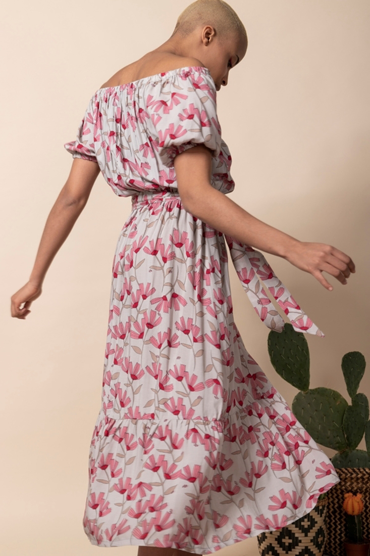 Picture of MIDI PRINTED OFF-SHOULDER DRESS