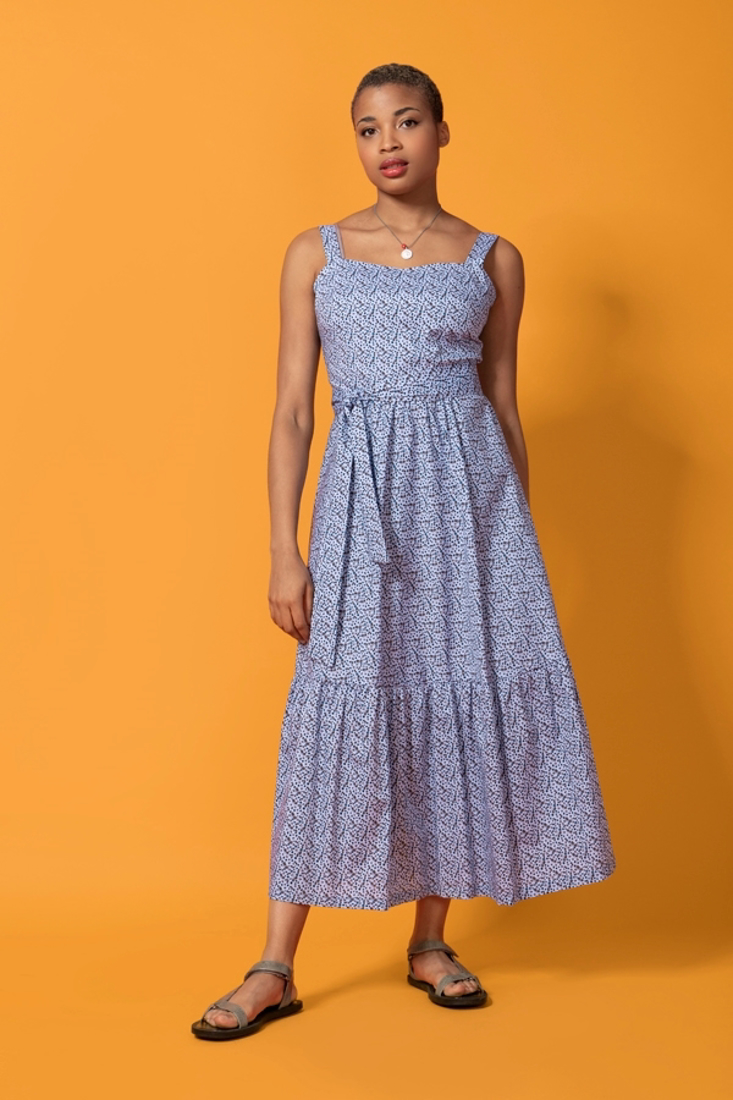 Picture of MIDI PRINTED DRESS WITH FRILLS