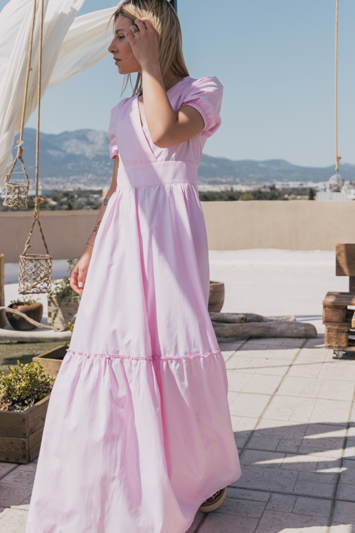 Picture of LONG DRESS WITH PUFF SLEEVES