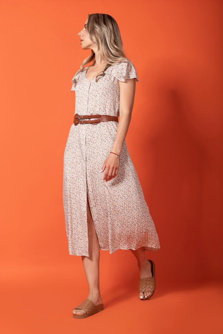 Picture of PRINTED DRESS WITH FRILLED SLEEVES (2)