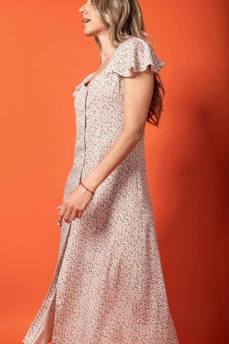 Picture of PRINTED DRESS WITH FRILLED SLEEVES