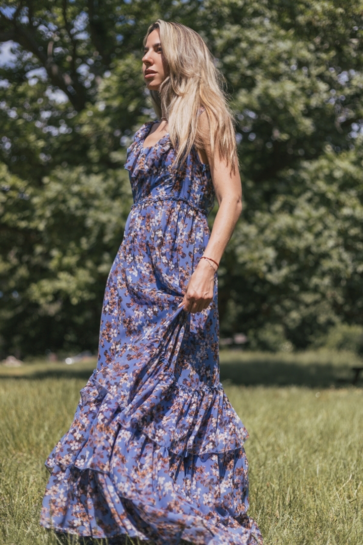 Picture of MAXI PRINTED DRESS WITH FRILLS
