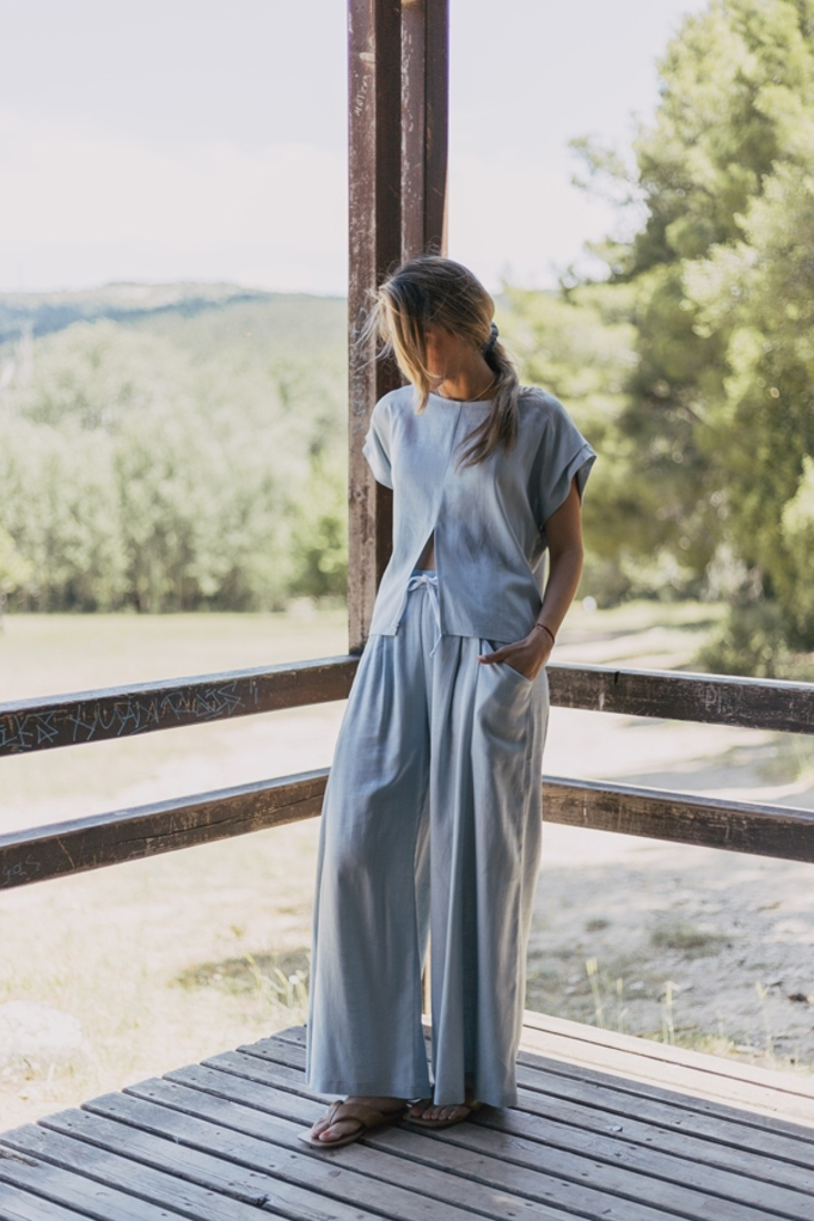 Picture of WIDE LEG LINEN TROUSERS