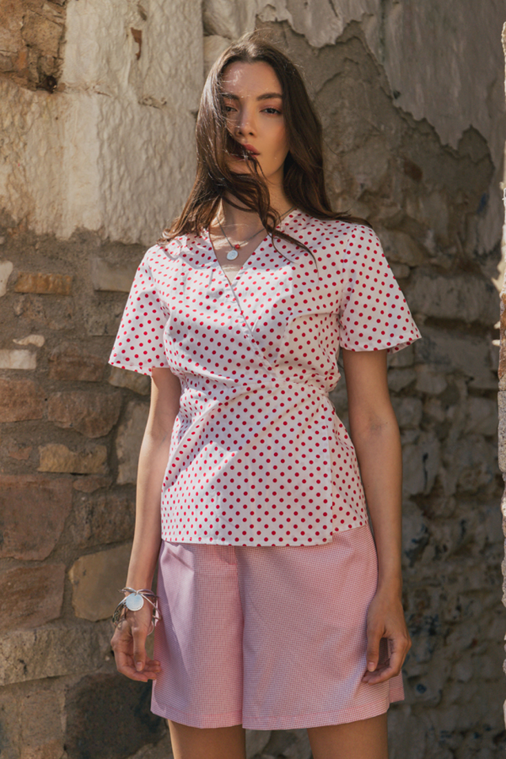 Picture of POLKA DOT WRAP TOP