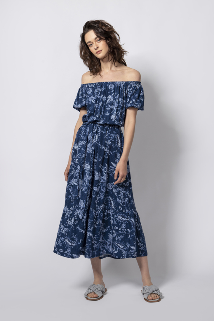 Picture of OFF SHOULDER PRINTED DRESS