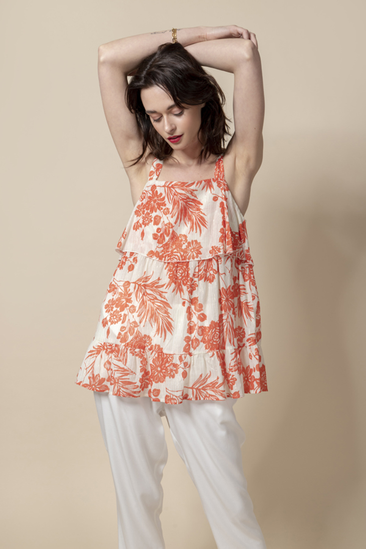Picture of PRINTED TOP WITH FRILLS