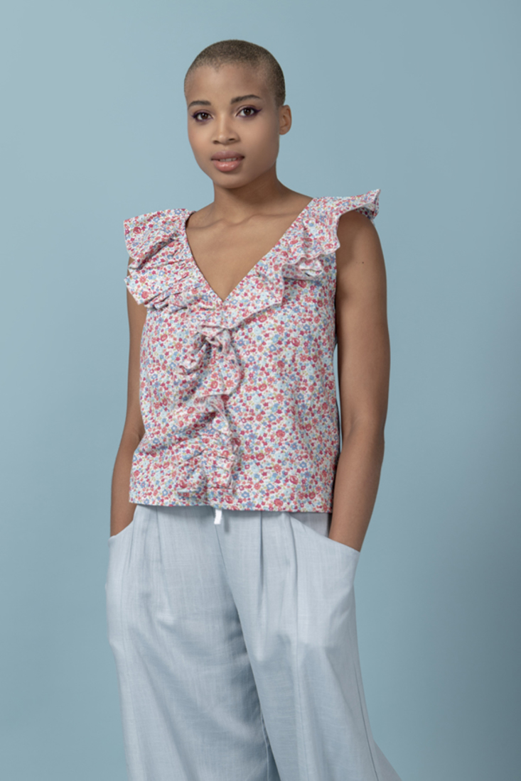 Picture of POPLINE PRINTED TOP (2)