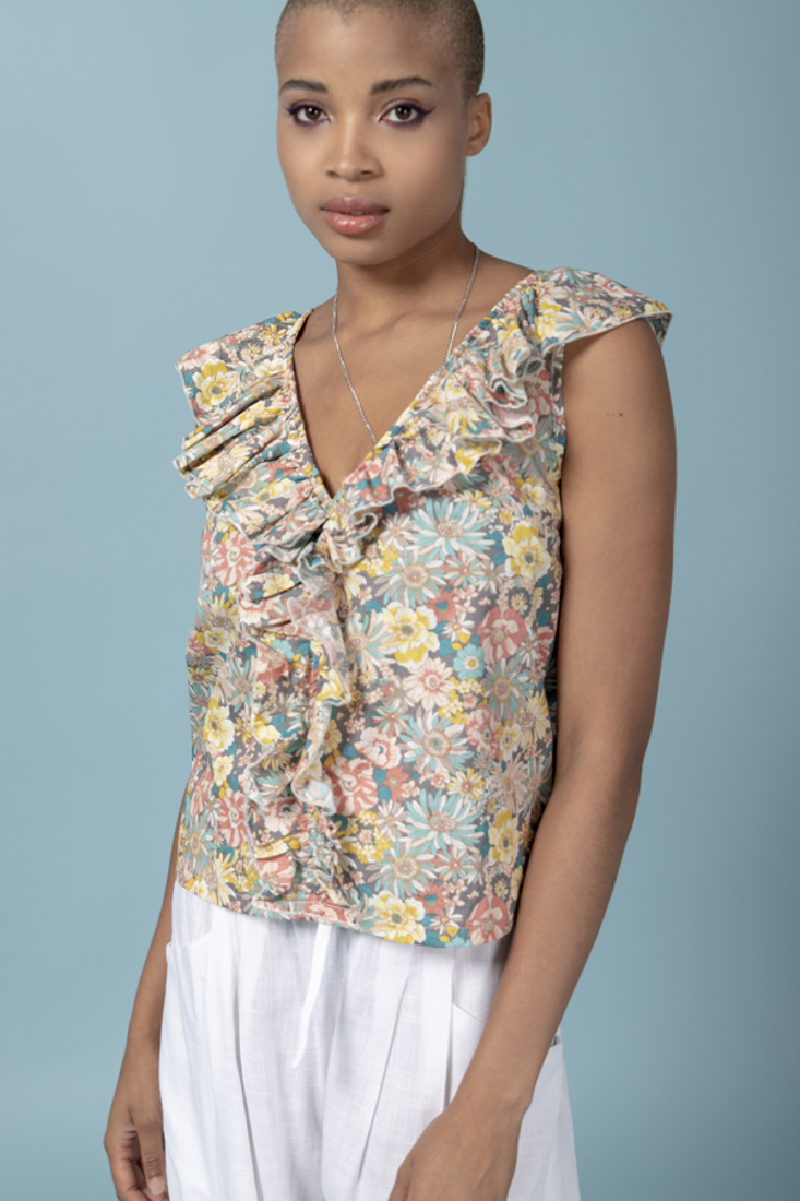 Picture of POPLINE PRINTED TOP