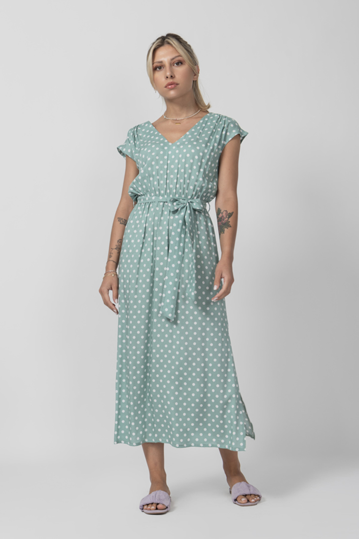 Picture of POLKA DOT LONG DRESS WITH ELASTIC WAIST
