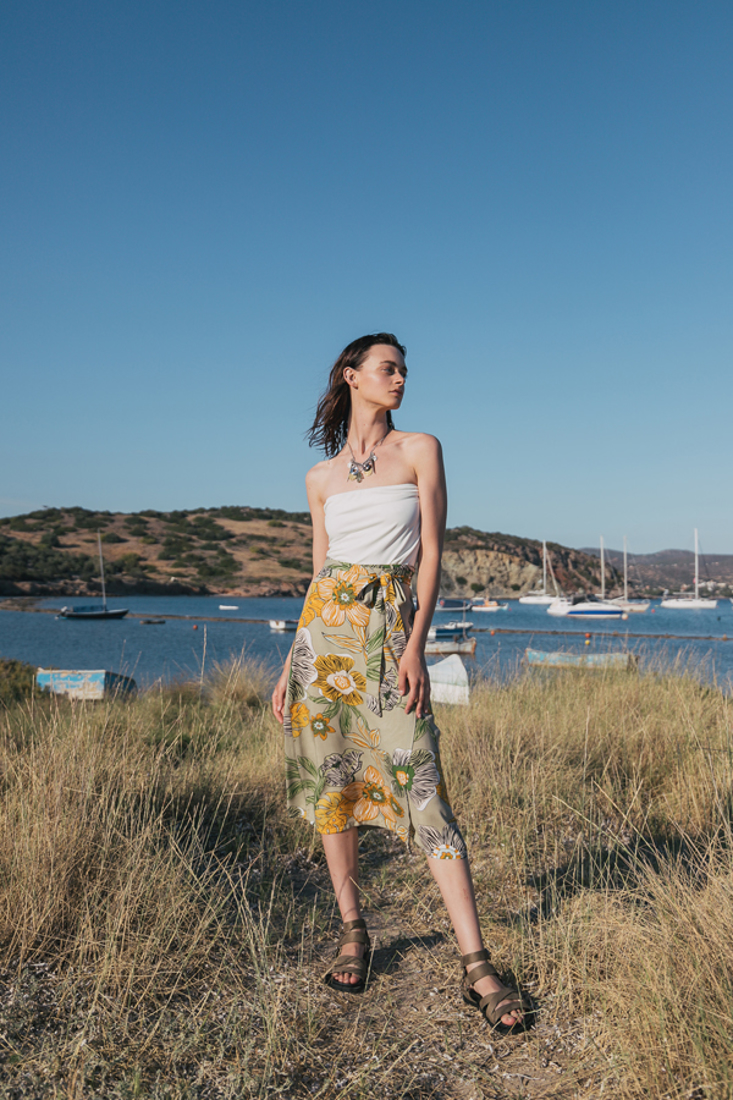 Picture of WRAP MIDI PRINTED SKIRT