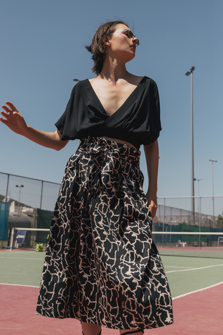 Picture of MIDI PRINTED SKIRT WITH PLEATS