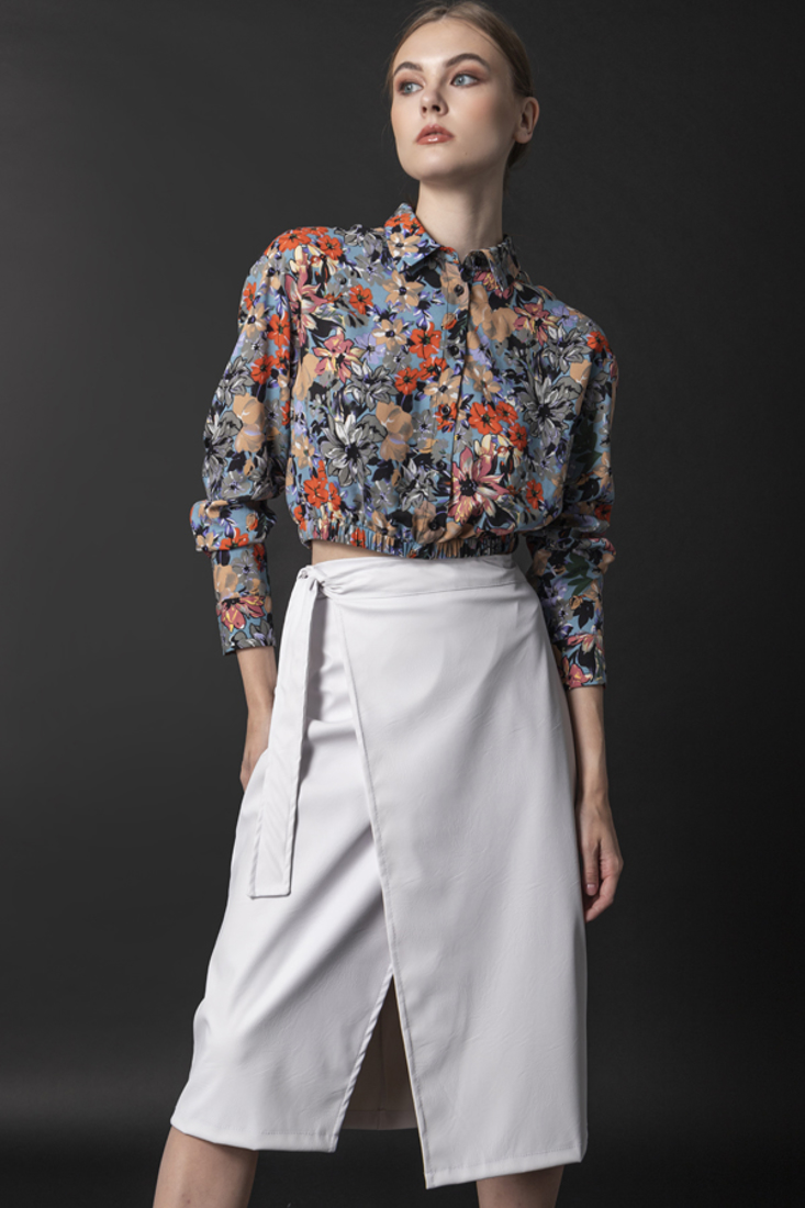 Picture of LEATHER EFFECT MIDI SKIRT (2)