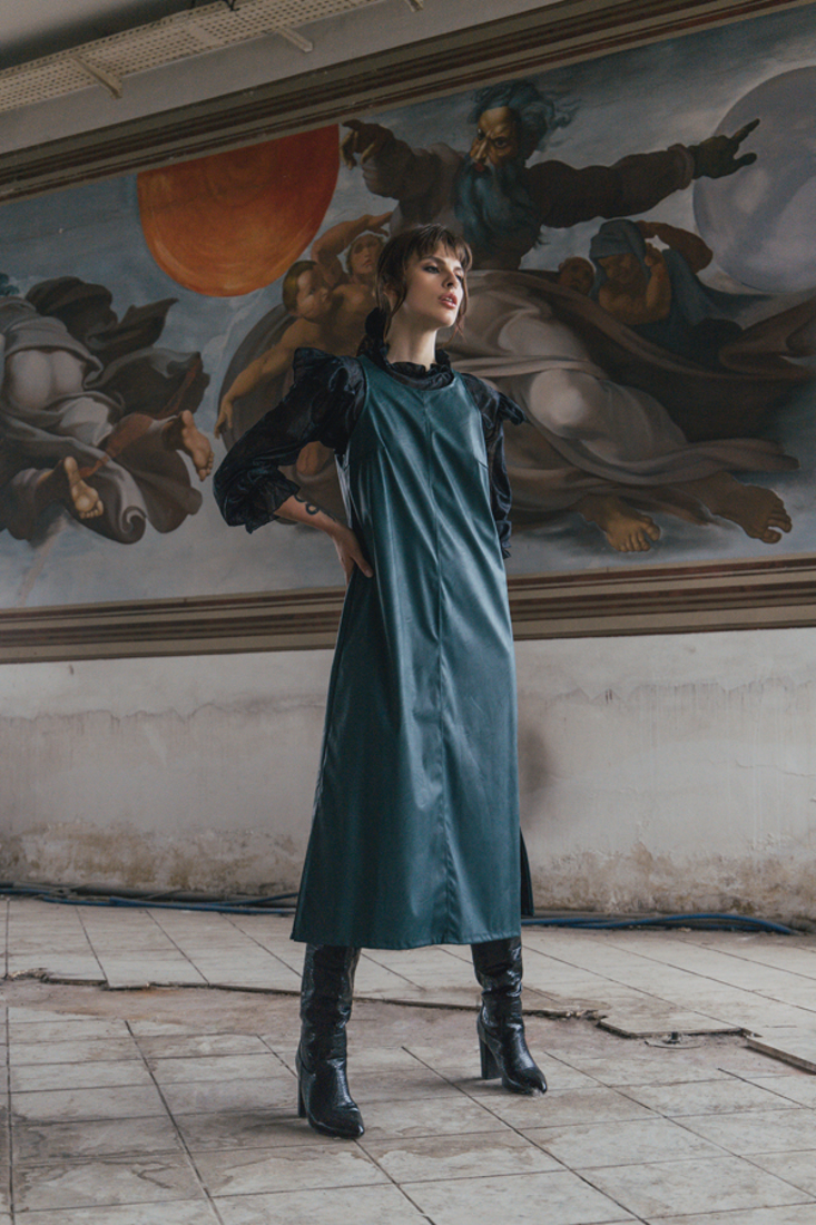 Picture of FAUX LEATHER LONG DRESS