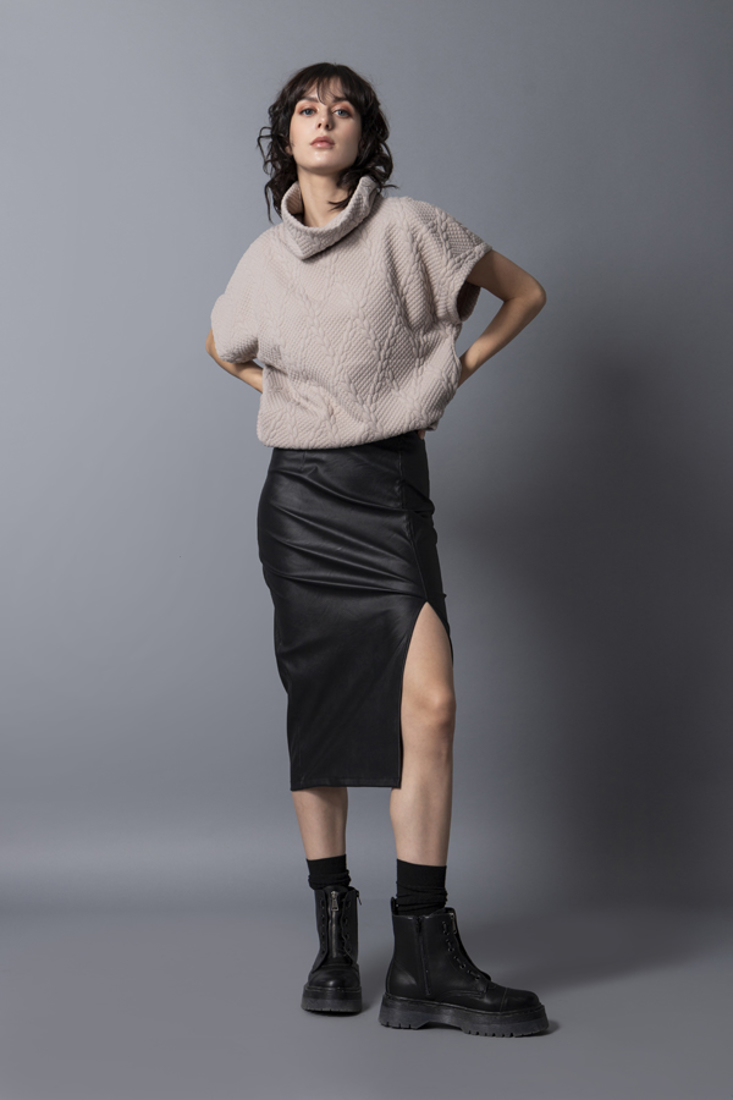 Picture of  FAUX LEATHER PENCIL SKIRT