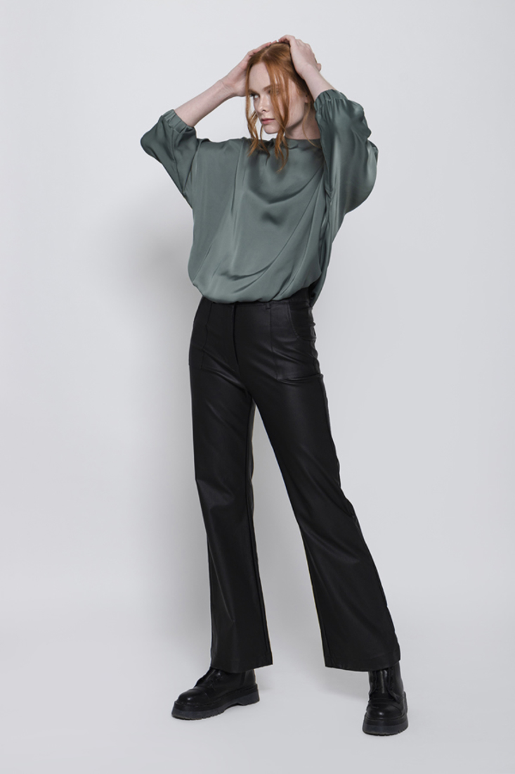 Picture of LEATHER EFFECT FLARED TROUSERS