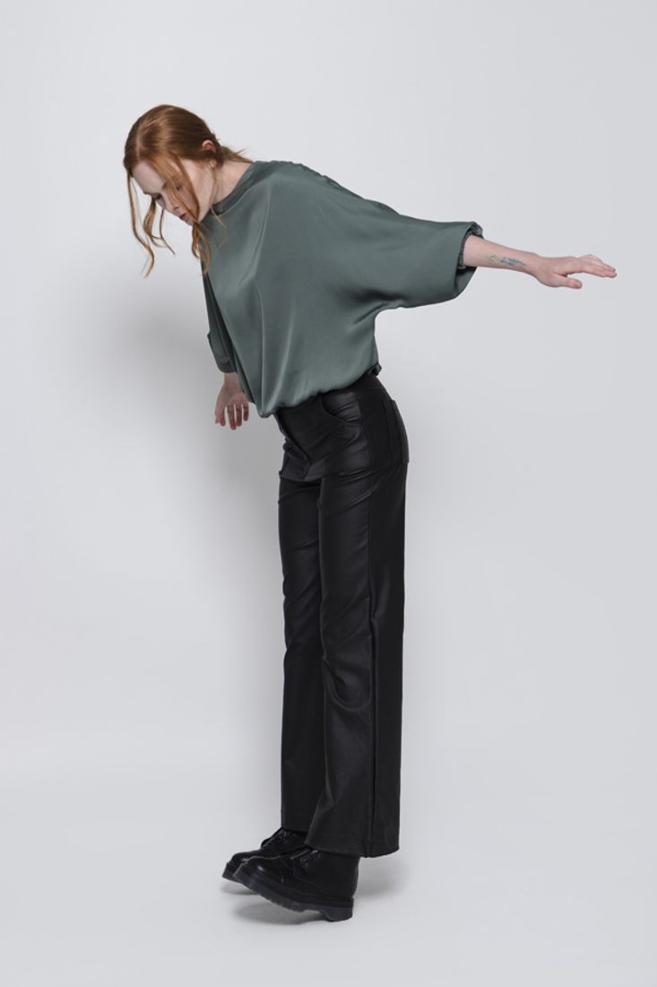 Picture of LEATHER EFFECT FLARED TROUSERS (2)